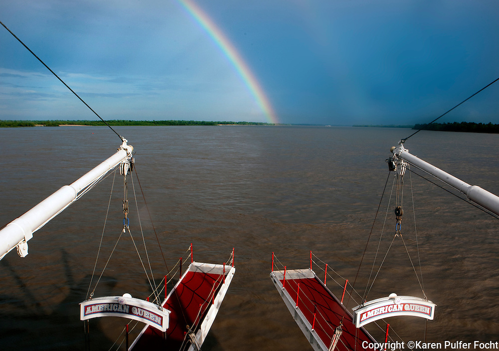 The American Queen heads into a rainbow on a recent trip from Memphis to New Orleans. For centuries, the river has been used as a roadway to transport goods. Early settlers brought goods downriver to Natchez, for further transport to New Orleans and then walked home. The pathway on which they walked was once wilderness but is now a National Park known as the Natchez Trace.