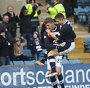 John Baird  congratulates Jim McAlister after the former Morton midfielder scored Dundee's opener - Dundee v Greenock Morton, William Hill Scottish Cup 5th Round at Dens Park .. - © David Young - www.davidyoungphoto.co.uk - email: davidyoungphoto@gmail.com