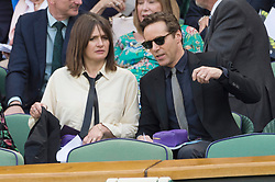© Licensed to London News Pictures. 01/07/2019. London, UK. Emily Mortimer and Andy Nicholl watch tennis from the centre court Royal Box of the Wimbledon Tennis Championships 2019 on Day 1 held at the All England Lawn Tennis and Croquet Club. Photo credit: Ray Tang/LNP