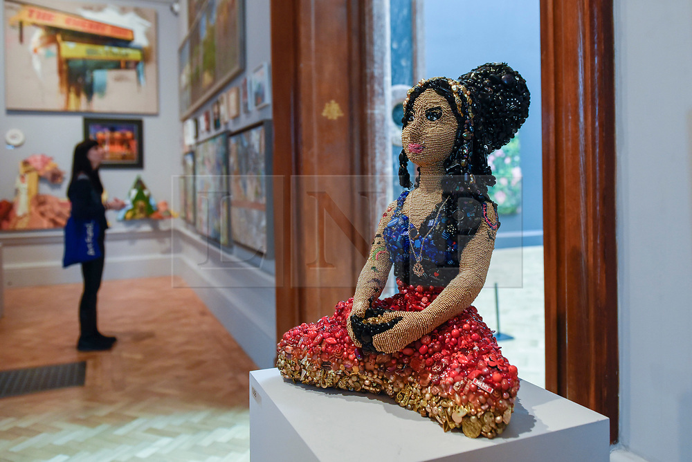"""© Licensed to London News Pictures. 08/06/2017. London, UK. An Amy Winehouse sculpture called """"Amy Remixed"""" by Sarah Gwyer (GBP7,500).  Preview of the Summer Exhibition 2017 at the Royal Academy of Arts in Piccadilly.  Co-ordinated by Royal Academician Eileen Cooper, the 249th Summer Exhibition is the world's largest open submission exhibition with around 1,100 works on display by high profile and up and coming artists.<br />  Photo credit : Stephen Chung/LNP"""