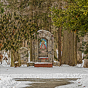 One of the many features at the Loyola Jesuit Center in Morristown, NJ is the outdoor stations of the cross.  This is the first station, seen from the back of the house.  I love the setting for all the stations nicely placed among the trees and wildlife.  In this shot, the open gates strike me as an invitation.