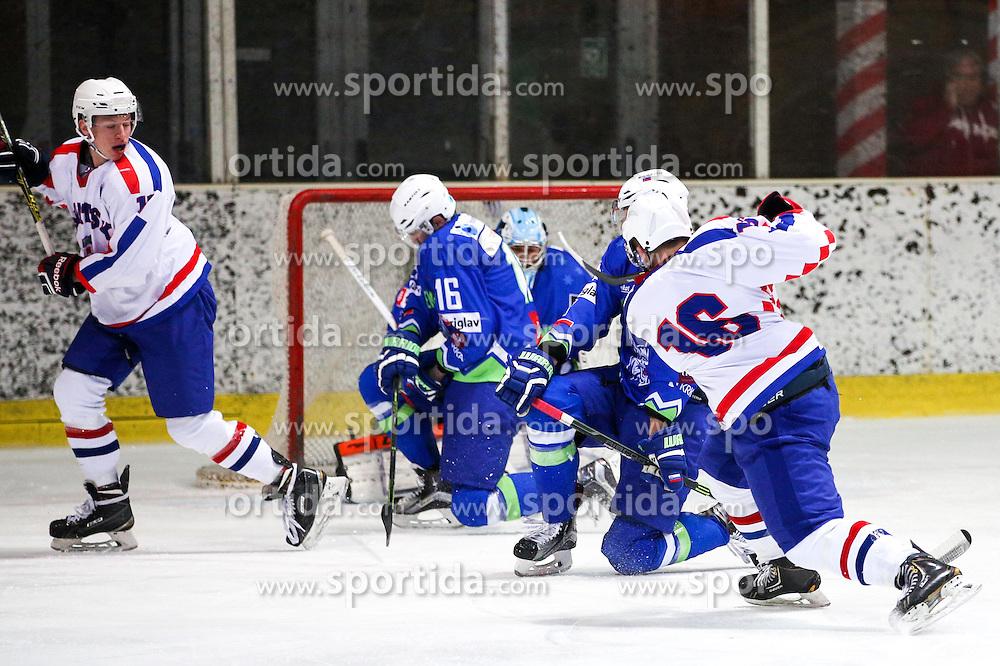 Luka Mikulic of Croatia during friendly ice hockey match between Slovenia and Croatia, on April 12, 2016 in Ledena dvorana, Bled, Slovenia. Photo By Matic Klansek Velej / Sportida