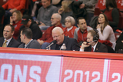 14 February 2015:   Public Address Announcers table during an NCAA MVC (Missouri Valley Conference) men's basketball game between the Wichita State Shockers and the Illinois State Redbirds at Redbird Arena in Normal Illinois