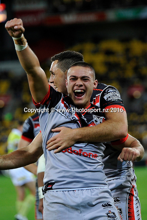 Warriors' Tuimoala Lolohea celebrates a try  during the NRL Warriors vs Bulldogs Rugby League match at the Westpac Stadium in Wellington on Saturday the 16th of April 2016. Copyright Photo by Marty Melville / www.Photosport.nz