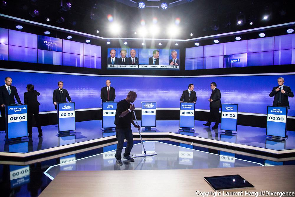 18112016. Saint-Cloud. Studio Franay. 3ème débat de la Primaire de la droite et du centre sur France télévisions co-organisé avec Europe 1.
