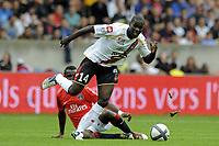 FOOTBALL - FRENCH CHAMPIONSHIP 2010/2011 - L1 - PARIS SAINT GERMAIN v OGC NICE - 3/10/2010 - PHOTO JEAN MARIE HERVIO / DPPI - EMERSE FAE (OGCN) / SIAKA TIENE (PSG)