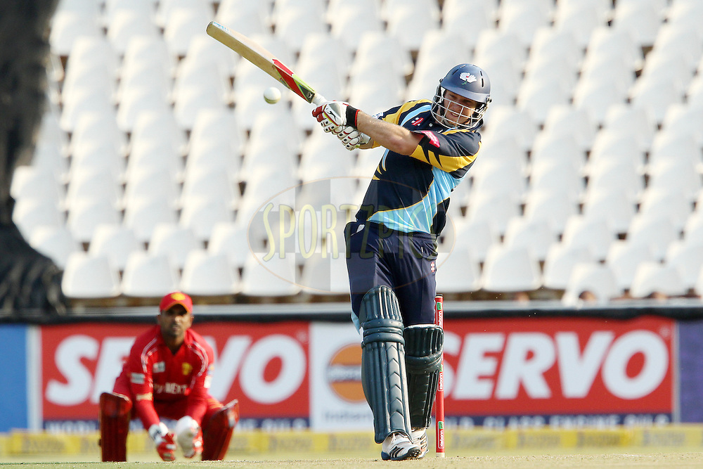 David Miller hits the winnings runs during 1st Qualifying match of the Karbonn Smart CLT20 South Africa between Uva Next and Yorkshire held at The Wanderers Stadium in Johannesburg, South Africa on the 9th October 2012..Photo by Ron Gaunt/SPORTZPICS/CLT20