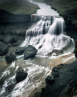 Waterfall along the Fjardra River south Iceland, Europe