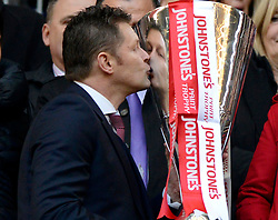 Bristol City manager, Steve Cotterill kisses the JPT Trophy  - Photo mandatory by-line: Joe Meredith/JMP - Mobile: 07966 386802 - 22/03/2015 - SPORT - Football - London - Wembley Stadium - Bristol City v Walsall - Johnstone Paint Trophy Final