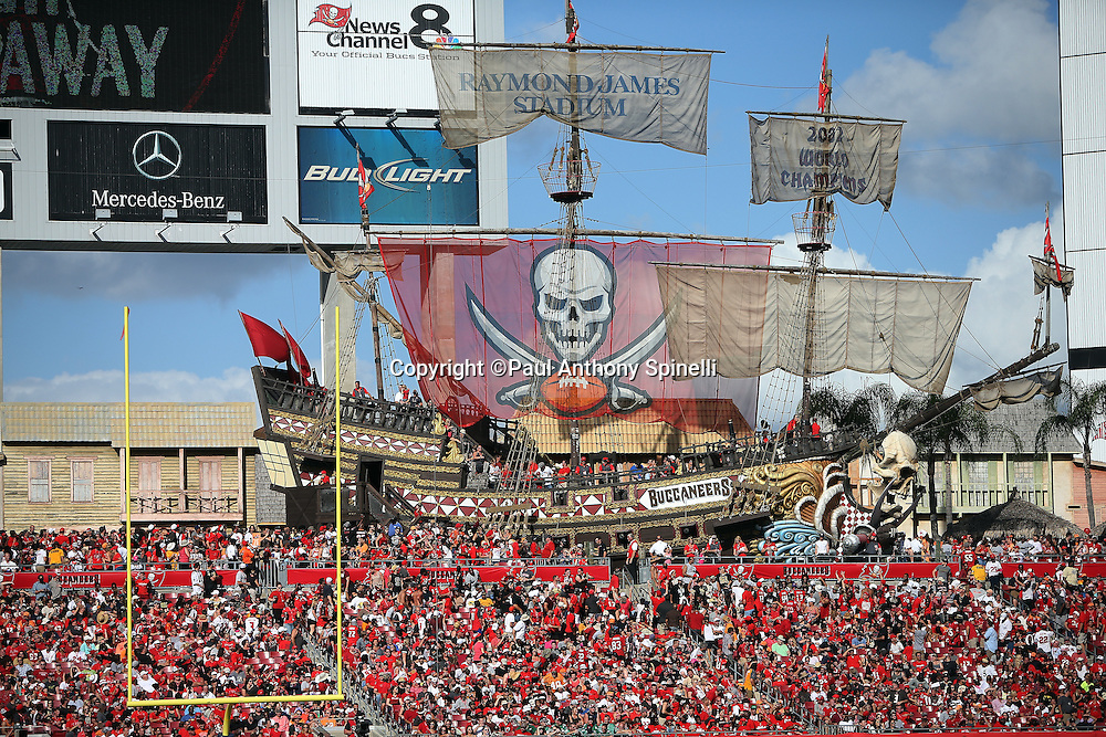 The Tampa Bay Buccaneers pirate ship is loaded with a crowd of fans during the 2015 week 14 regular season NFL football game against the New Orleans Saints on Sunday, Dec. 13, 2015 in Tampa, Fla. The Saints won the game 24-17. (©Paul Anthony Spinelli)
