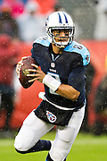 NASHVILLE, TN - NOVEMBER 29:  Marcus Mariota #8 of the Tennessee Titans rolls out to pass during a game against the Oakland Raiders at Nissan Stadium on November 29, 2015 in Nashville, Tennessee.  The Raiders defeated the Titans 24-21.  (Photo by Wesley Hitt/Getty Images) *** Local Caption *** Marcus Mariota