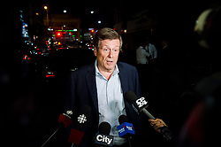 Toronto mayor John Tory speaks to press following a mass casualty event in Toronto, ON, Canada, on Sunday, July 22, 2018. A young woman has been killed and 13 others injured in a shooting incident in Toronto, Canadian police say. The Sunday night shooting happened in the Danforth and Logan avenues area. The gunman died in an exchange of fire. Among those injured is a young girl, described as in a critical condition. Police are appealing for witnesses. Photo by Christopher Katsarov/ABACAPRESS.COM