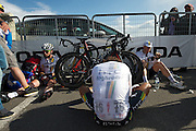 HTC sprinters and workhorses exhausted after the Giro's first mountain stage. Cav. was accused by Francisco Ventoso and Murilo Fischer of grabbing his team car along the slopes of Etna.  Stage 9 finish.