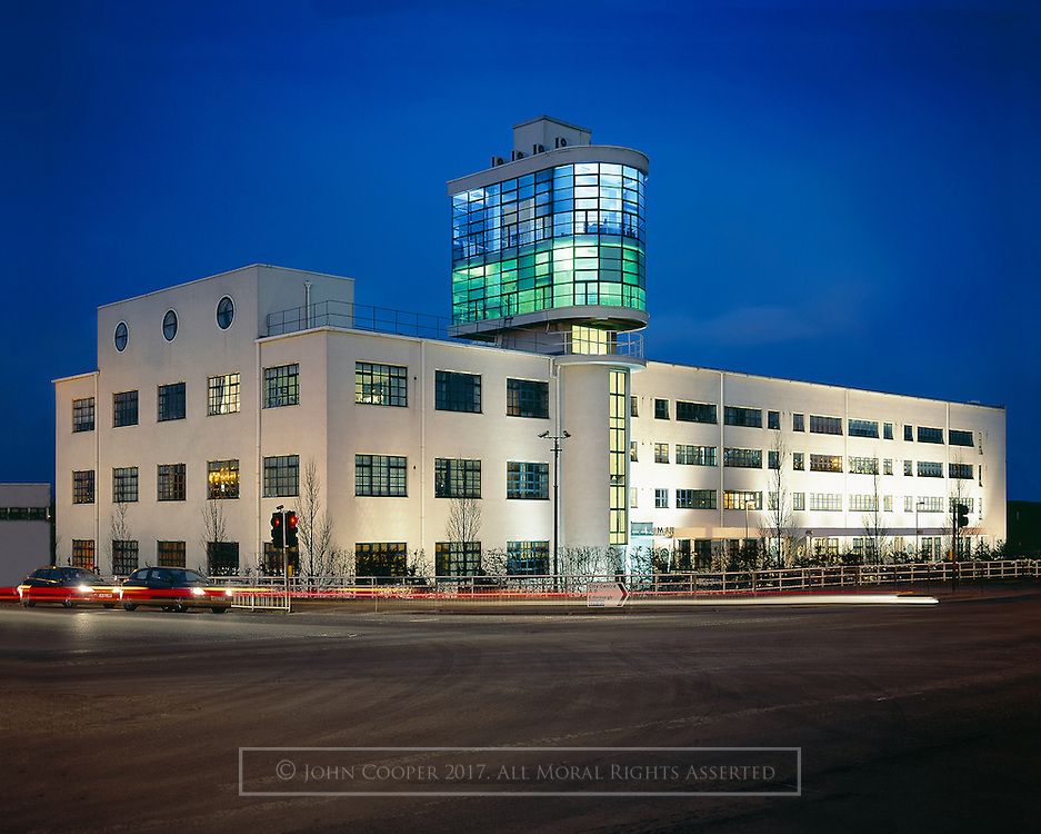 Colour photograph of The Luma Tower building in Glasgow, at dusk.