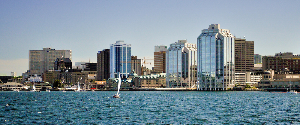 Halifax, Nova Scotia skyline as seen from the Dartmouth Ferry Terminal at Alderney Gate