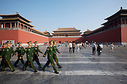 Gugong (Forbidden City, Imperial Palace). Policemen patrolling in front of Wumen (Meridian Gate).
