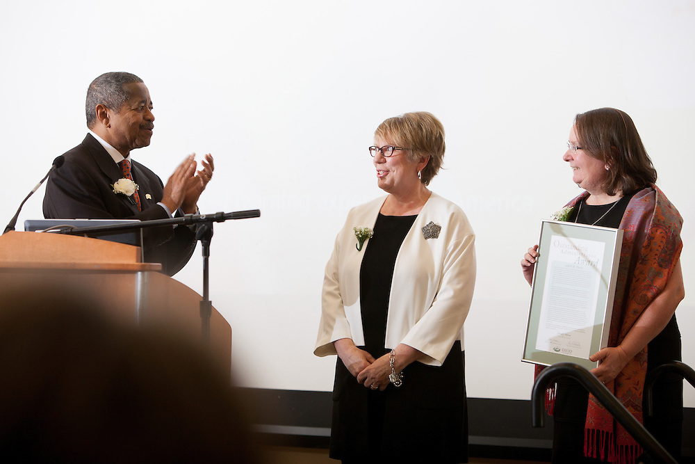 Judith M. Piercy the Interim University Ombudperson is the the recipient of the 2013 Outstanding Administrator Award at the Ohio University Outstanding Administrator Awards ceremony on March 10, 2014. Photo by Ohio University / Jonathan Adams