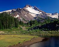 Mount Jefferson from Bays Lake in Jefferson Park, Mount Jefferson Wilderness Oregon
