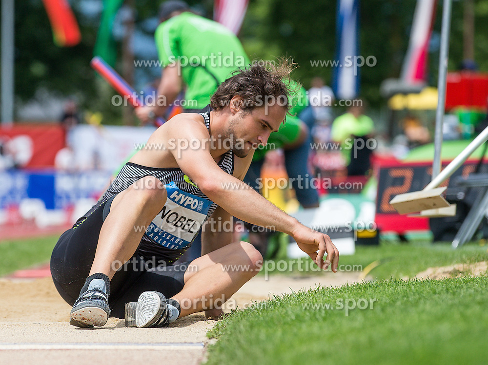 28.05.2016, Moeslestadion, Goetzis, AUT, 42. Hypo Meeting Goetzis 2016, Zehnkampf der Herren, Weitsprung, im Bild Jan Felix Knobel (GER) // Jan Felix Knobel of Germany during the Long jump event of the Decathlon competition at the 42th Hypo Meeting at the Moeslestadion in Goetzis, Austria on 2016/05/28. EXPA Pictures © 2016, PhotoCredit: EXPA/ Peter Rinderer