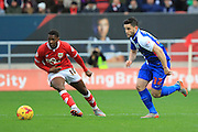 Blackburn Rovers midfielder Craig Conway and Bristol City forward Kieran Agard during the Sky Bet Championship match between Bristol City and Blackburn Rovers at Ashton Gate, Bristol, England on 5 December 2015. Photo by Jemma Phillips.