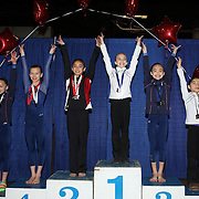 Gymnasts salute after receiving their medals  during the 21st American Invitational 2014 competition at the XL Centre. Hartford, Connecticut, USA. USA. 31st January 2014. Photo Tim Clayton