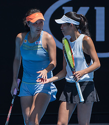 MELBOURNE, Jan. 24, 2018  Peng Shuai (L) of China talk with Hsieh Su-Wei of Chinese Taipei during the women's doubles semifinal against Timea Babos of Hungary and Kristina Mladenovic of France at Australian Open 2018 in Melbourne, Australia, Jan. 24, 2018. Timea Babos and Kristina Mladenovic won 2-0 to enter the final. (Credit Image: © Zhu Hongye/Xinhua via ZUMA Wire)