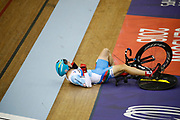 Men Keirin, Sergii Omelchenko (Azerbaijan) crash, during the Track Cycling European Championships Glasgow 2018, at Sir Chris Hoy Velodrome, in Glasgow, Great Britain, Day 6, on August 7, 2018 - Photo luca Bettini / BettiniPhoto / ProSportsImages / DPPI<br /> - Restriction / Netherlands out, Belgium out, Spain out, Italy out -