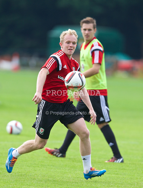 CARDIFF, WALES - Sunday, September 7, 2014: Wales' Jonathan Williams training at the University of South Wales Sport Park ahead of the opening UEFA Euro 2016 qualifying match against Andorra. (Pic by David Rawcliffe/Propaganda)