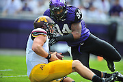 FORT WORTH, TX - SEPTEMBER 13:  Mitch Leidner #7 of the Minnesota Golden Gophers is sacked by Josh Carraway #94 of the TCU Horned Frogs on September 13, 2014 at Amon G. Carter Stadium in Fort Worth, Texas.  (Photo by Cooper Neill/Getty Images) *** Local Caption *** Mitch Leidner; Josh Carraway