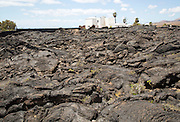 House standing in solidified pahoehoe or ropey lava field, Tahiche, Lanzarote, Canary Islands, Spain