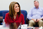 17 OCTOBER 2011 - PHOENIX, AZ: MICHELE BACHMANN, a Republican candidate for US President, talks to members of the Arizona legislators at the State Capitol in Phoenix. Bachmann met with Republican Arizona legislators and Republican members of the state's Congressional delegation Monday morning to talk about illegal immigration and border security. During the meeting she pledged that if she were elected US President, she would construct a fence along the US - Mexico border.  PHOTO BY JACK KURTZ