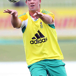 AB de Villiers during the Castle Lager Proteas squad which came together in Durban on Friday December 23, in preparation for the second Sunfoil Test Match starting at Sahara Stadium Kingsmead on the Day of Goodwill (December 26). The squad had a practice session at Sahara Stadium Kingsmead on Friday 23rd afternoon from 14h00 until 17h00.<br /> <br /> <br /> Photography: Steve Haag