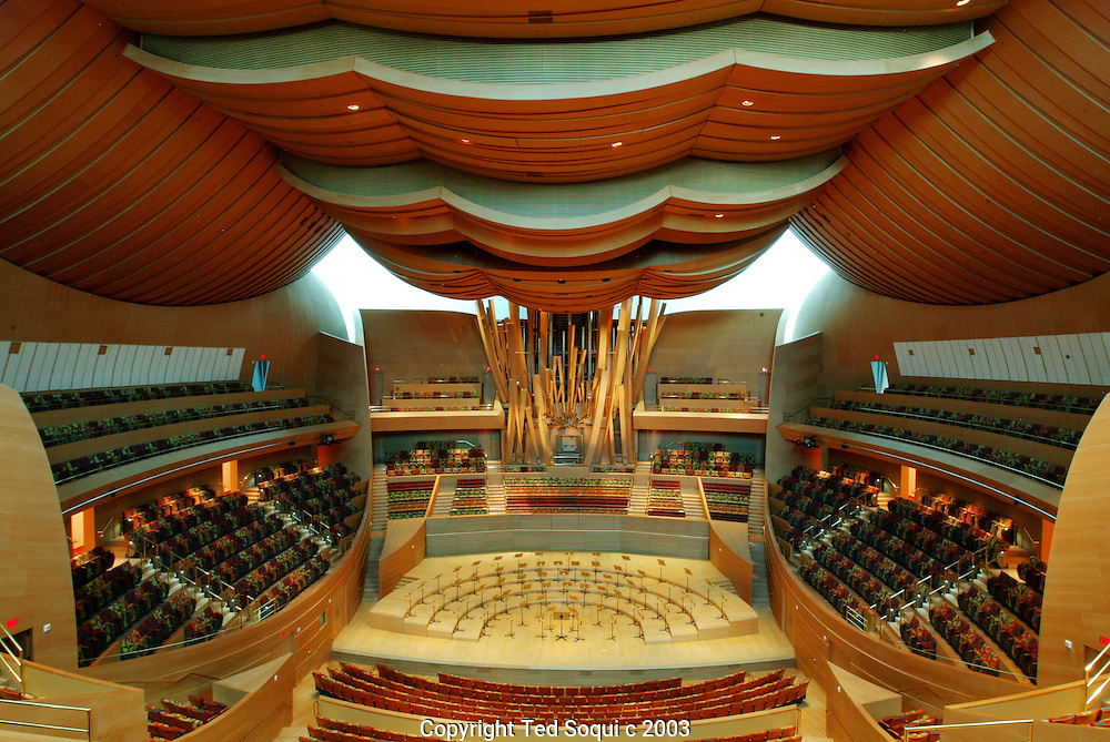 Walt Disney Concert Hall interiors downtown L.A Inside the concert hall area looking toward the pipe organ.