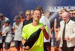 08.08.2015, Sportpark, Kitzbuehel, AUT, ATP World Tour, Generali Open, Finale, Einzel, im Bild Philipp Kohlschreiber (GER) // Philipp Kohlschreiber of Germany celebrates after winning men' s singles Final match of the Generali Open tennis tournament of the ATP World Tour at the Sportpark in Kitzbuehel, Austria on 2015/08/08. EXPA Pictures © 2015, PhotoCredit: EXPA/ JFK