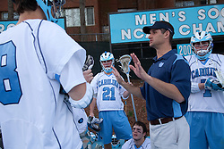 14 February 2009: North Carolina Tar Heels assistant coach Greg Paradine during the halftime of a 20-7 win over the Denver Pioneers on Fetzer Field in Chapel Hill, NC.