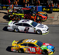October 14, 2018 - Talladega, AL, U.S. - TALLADEGA, AL - OCTOBER 14: #18: Kyle Busch, Joe Gibbs Racing, Toyota Camry M&M's, #2: Brad Keselowski, Team Penske, Ford Fusion Miller Lite, #78: Martin Truex Jr., Furniture Row Racing, Toyota Camry Bass Pro Shops/5-hour ENERGY during the runinng of the 1000Bulbs.com500 on Sunday October 14, 2018 at Talladega SuperSpeedway in Talladega Alabama (Photo by Jeff Robinson/Icon Sportswire) (Credit Image: © Jeff Robinson/Icon SMI via ZUMA Press)