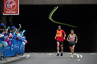 Yap Tien-Fung GER emerges from the Blackfriars Underpass with his Guide Runner in the T12 Men World Para Athletics Marathon Championships. The Virgin Money London Marathon, 28 April 2019.<br /> <br /> Photo: Jon Buckle for Virgin Money London Marathon<br /> <br /> For further information: media@londonmarathonevents.co.uk