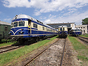 "Strasshof, Austria.<br /> Triebwagentage (railcar days) at Das Heizhaus - Eisenbahnmuseum Strasshof, Lower Austria's newly designated competence center for railway museum activities.<br /> From l.: ÖBB 4145 ""Blauer Blitz (Blue Lightning)"", 1952-1962, running until 1997; BBÖ VT 42/ÖBB 5042 diesel electric railcar, built 1935-36, running until 1989; ÖBB 5081 ""Schienenbus (Rail Bus)"", 1964-1967, running until 1994."