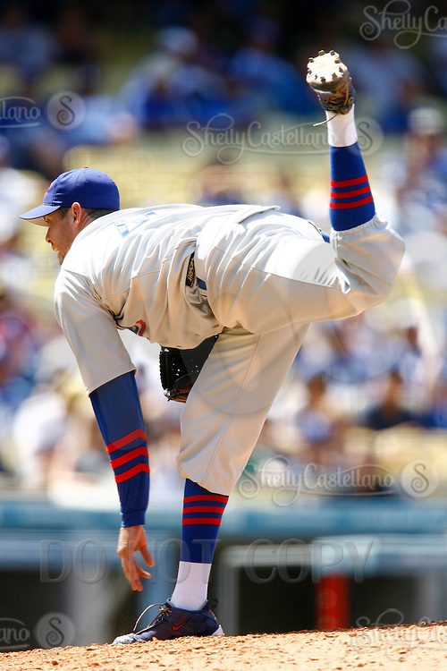 4 May 2011: Closing pitcher #45 Sean Marshall on the mound during the Cubs defeated the Dodgers 5-1 during a Major League Baseball game at Dodger Stadium in Los Angeles, California.  Dodgers players are wearing Brooklyn Dodger 1940's throwback jersey uniforms and the Cubs are also wearing throwback retro jersey uniforms. **Editorial Use Only**