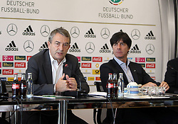 18.10.2013, DFB Zentrale, Frankfurt, GER, DFB Pressekonferenz, im Bild DFB Präsident Wolfgang Niersbach - Trainer Joachim Jogi Löw // during the DFB press conference to extend the contract of national coach Joachim Loew in the DFB headquarters in Frankfurt on 2013/10/18. EXPA Pictures © 2013, PhotoCredit: EXPA/ Eibner-Pressefoto/ RRZ<br /> <br /> *****ATTENTION - OUT of GER*****