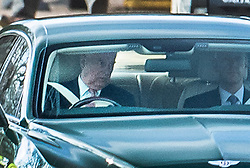 © Licensed to London News Pictures. 28/01/2020. Windsor, UK. Prince Andrew (L) is seen driving from Windsor after being criticised by a US prosecutor for giving 'zero co-operation' during Epstein inquiry. Photo credit: Peter Macdiarmid/LNP