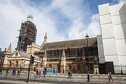 London, UK. 8 May, 2019. Scaffolding around the Palace of Westminster. Andrea Leadsom MP, Leader of the House of Commons, today unveiled the Parliamentary Buildings (Restoration and Renewal) Bill which includes plans to restore the badly damaged building and MPs will vote in the coming weeks on a body to oversee the £6bn work which is expected to begin in the mid-2020s.