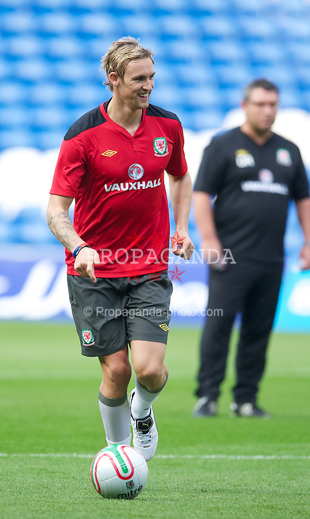 CARDIFF, WALES - Thursday, September 1, 2011: Wales' Jack Collison during a training session at the Cardiff City Stadium ahead of the UEFA Euro 2012 Qualifying Group G match against Montenegro. (Pic by David Rawcliffe/Propaganda)