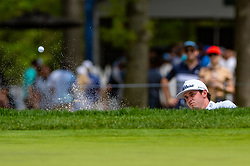 May 19, 2019 - Farmingdale, NY, U.S. - FARMINGDALE, NY - MAY 19: J.T. Poston plays his shot out of the bunker on the ninth hole during Round 4 of the PGA Championship Tournament on May 19, 2019, at Bethpage State Park in Farmingdale, NY (Photo by John Jones/Icon Sportswire) (Credit Image: © John Jones/Icon SMI via ZUMA Press)