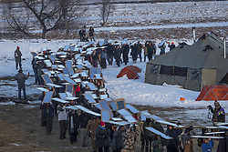 December 3, 2016 - Cannonball, North Dakota, United States - There is a long history of using mirrors at protests, to show the oppressors themselves as they brutalize those protesting injustice.  Veterans arrived en mass to Standing Rock, bringing a massive amount of supplies including winter clothing, food and firewood by the truck load.  Over 5000 veterans are anticipated to arrive by Sunday evening, prior to various actions slated to place. (Credit Image: © Michael Nigro/Pacific Press via ZUMA Wire)