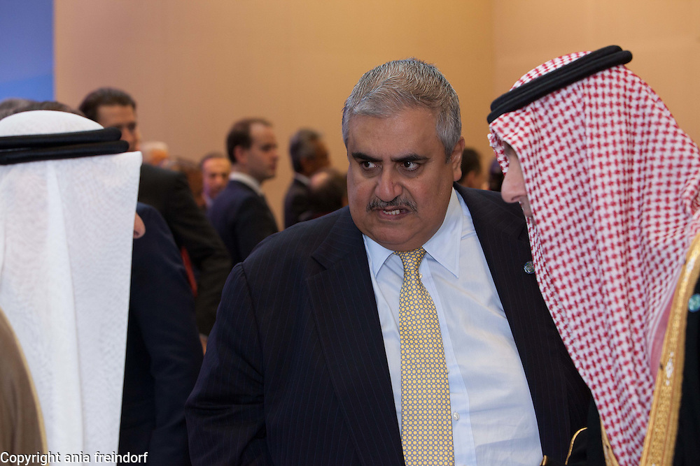 Middle east peace conference, Paris, France. Khalid bin Ahmed Al Khalifa, Bahraini diplomat and Bahrain's Minister of Foreign Affairs, Bahrain, (right) Adel Al Jubeir, Minister of Foreign Affairs of Saudi Arabia.