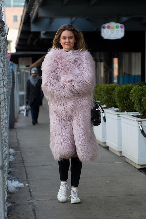 Pink Fur Coat, Outside Carolina Herrera FW2017