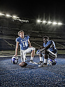 Kentucky quarterback Patrick Towles, and running back Boom Williams on Tuesday August 4, 2015 in Lexington, Ky. Photo by Mark Cornelison | Staff