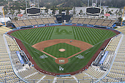 LOS ANGELES, CA - APRIL 7:  General view of the stadium interior from overhead before the Los Angeles Dodgers game against the Pittsburgh Pirates on Sunday, April 7, 2013 at Dodger Stadium in Los Angeles, California. The Dodgers won the game 6-2. (Photo by Paul Spinelli/MLB Photos via Getty Images)