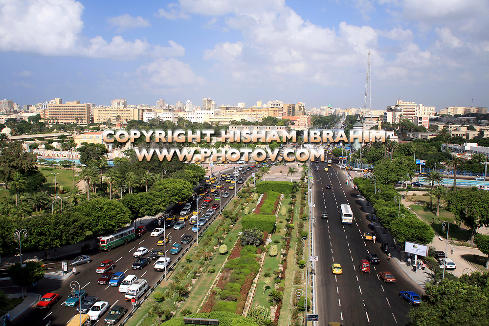 Elevated View of Rush Hour Traffic Downtown Alexandria, Egypt